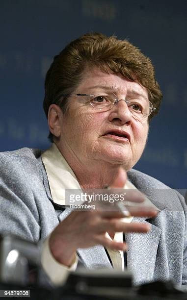 International Monetary Fund Acting Managing Director Anne O Krueger speaks during a press briefing April 22 2004 at IMF headquarters in Washington DC...