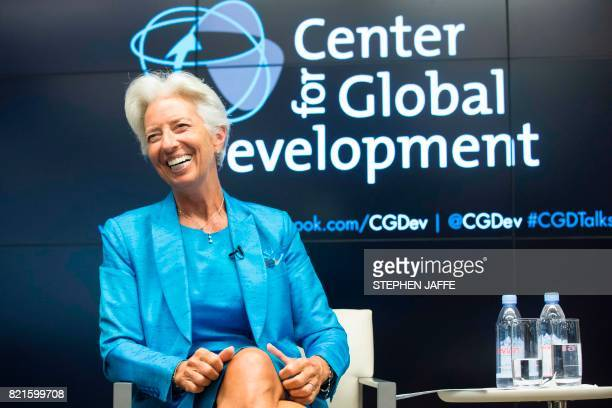 International Monetary Fund Christine Lagarde participates in a discussion about Global Economic Challenges at the Center for Global Development at...