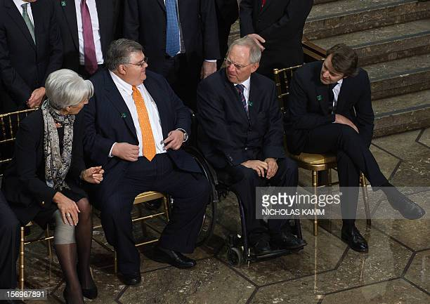 International Monetary Fund Director General Christine Lagarde, Mexican Central Bank Governor Agustin Carstens, German Finance Minister Wolfgang...