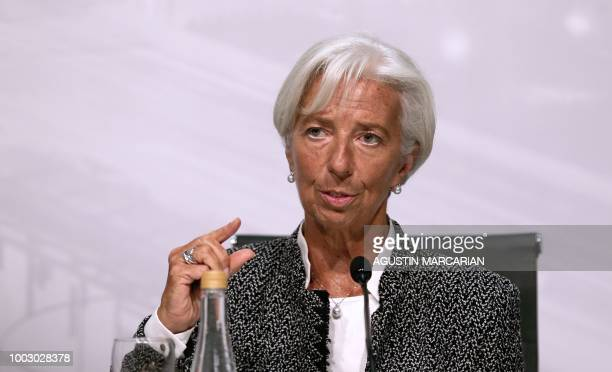International Monetary Fund Managing Director Christine Lagarde gestures during a joint press conference with Argentina's Economy Minister Nicolas...