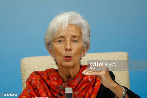 International Monetary Fund Managing Director Christine Lagarde attends a news briefing after the Third Round Table Dialogue on November 6 2018 in...