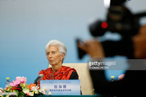 International Monetary Fund Managing Director Christine Lagarde attends a news briefing after the Third Round Table Dialogue in Beijing on November 6...
