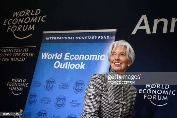 International Monetary Fund Managing Director Christine Lagarde attends a press conference on IMF World Economic Outlook ahead of the World Economic...