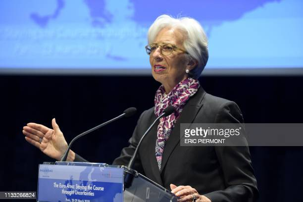 International Monetary Fund Managing Director Christine Lagarde speaks during a Symposium on the occasion the 20th anniversary of the euro at the...