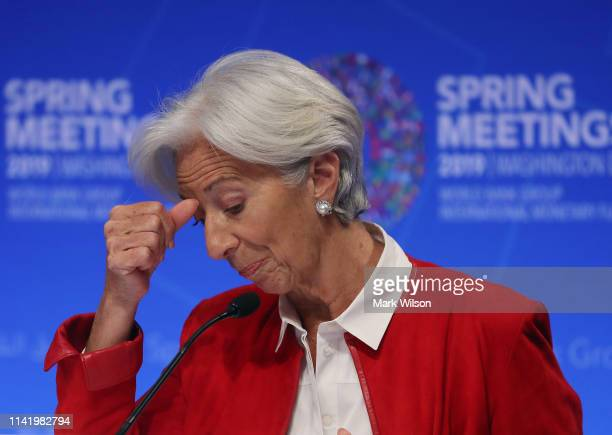 International Monetary Fund Managing Director Christine Lagarde speaks during a media briefing ahead of this weekend's IMFWorld Bank spring meetings...