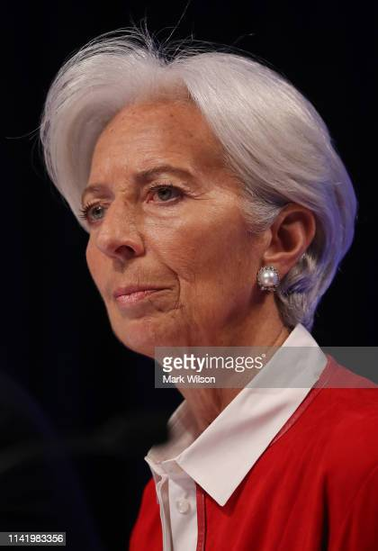 International Monetary Fund Managing Director Christine Lagarde attends a media briefing ahead of this weekend's IMFWorld Bank spring meetings on...