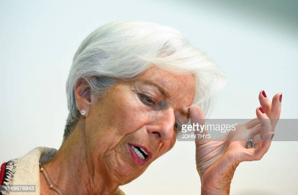 International Monetary Fund managing Director Christine Lagarde speaks during a press conference during an Eurogroup meeting at the EU headquarters...