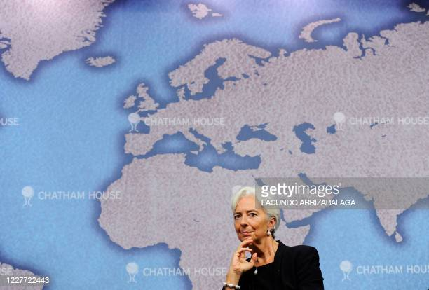International Monetary Fund Managing Director Christine Lagarde attends a debate on 'Challenges for the Global Economy' at Chatham House in central...