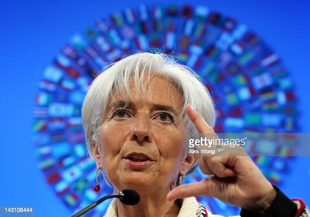 International Monetary Fund Managing Director Christine Lagarde speaks during a briefing at the IMF headquarters April 19 2012 in Washington DC The...