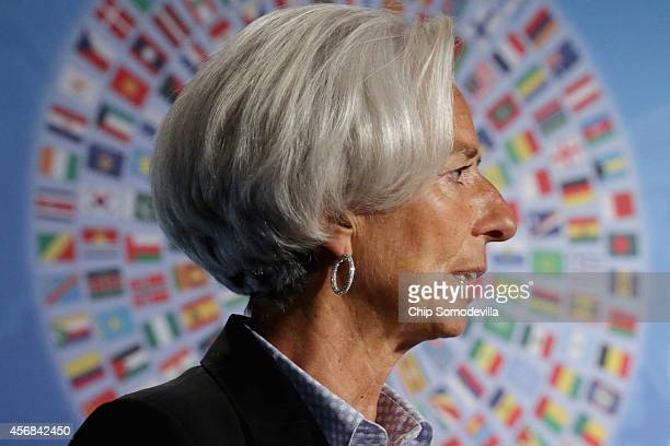 International Monetary Fund Managing Director Christine Lagarde delivers opening remarks during a panel about sustanable and robust economic growth...