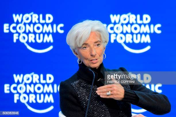 International Monetary Fund Managing Director Christine Lagarde gestures during a session of the World Economic Forum annual meeting on January 23...