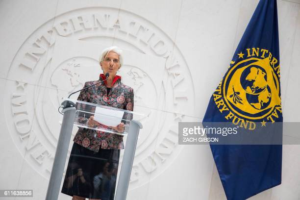 International Monetary Fund Managing Director Christine Lagarde speaks during a press conference at the IMF Headquarters September 30 2016 in...