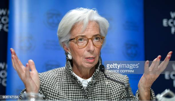 International Monetary Fund Managing Director Christine Lagarde speaks during a press conference on IMF World Economic Outlook ahead of the World...