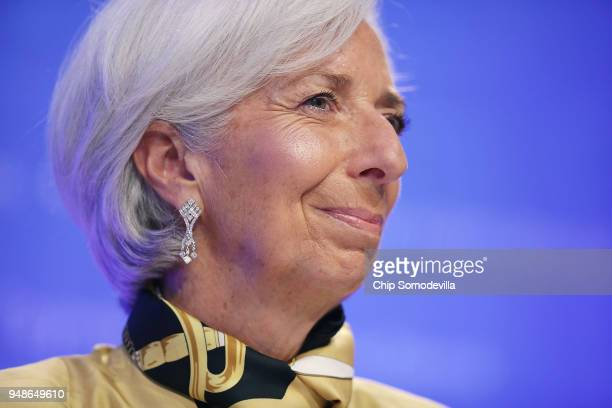 International Monetary Fund Managing Director Christine Lagarde answers reporter's questions during a news conference at the IMF Headquarters on...