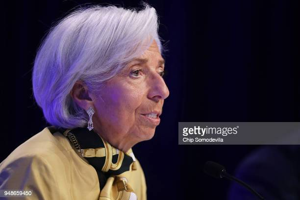 International Monetary Fund Managing Director Christine Lagarde answers reporter's questions during a news conference at IMF Headquarters April 19...