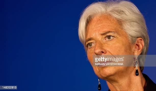 International Monetary Fund Managing Director Christine Lagarde gestures during an IMFbacked conference on Sustaining a HighQuality Growth in the...