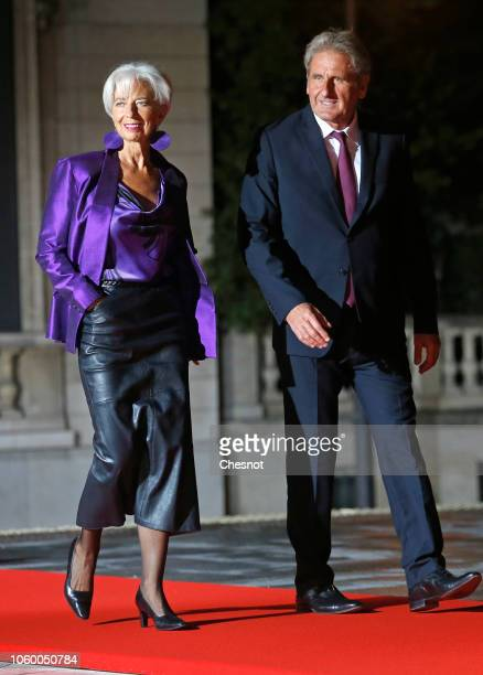 International Monetary Fund Managing Director Christine Lagarde and her husband Xavier Giocanti arrive to attend a dinner hosted by French President...