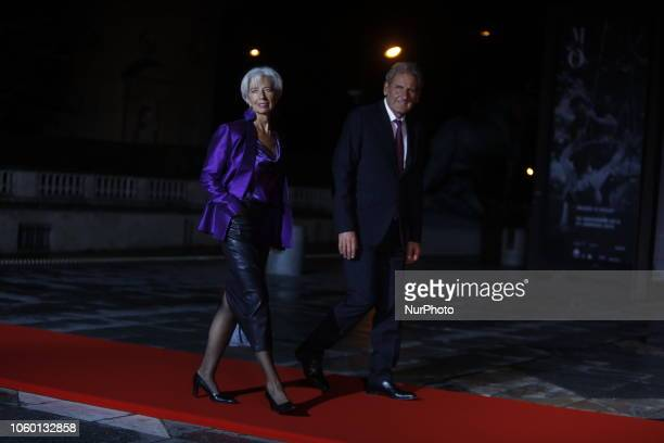 International Monetary Fund Managing Director Christine Lagarde and her partner Xavier Giocanti attend a state diner and a visit of the Picasso...