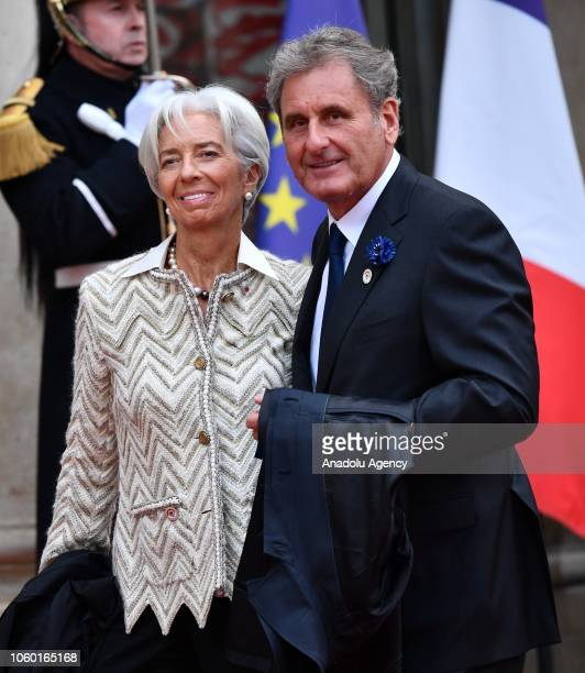 International Monetary Fund Managing Director Christine Lagarde and Xavier Giocanti arrive at the Elysee Palace ahead of the ceremony for the...