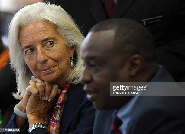 International Monetary Fund Managing Director Christine Lagarde and Kenya's Finance Minister Henry Rotich attend a meeting at the Treasury in Nairobi...
