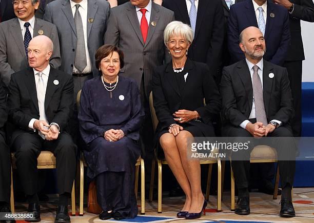 International Monetary Fund Managing Director Christine Lagarde European Economic and Financial Affairs Commissioner Pierre Moscovici finance...