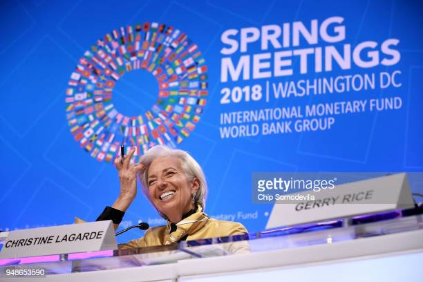 International Monetary Fund Managing Director Christine Lagarde smiles as she answers reporter's questions during a news conference at the IMF...