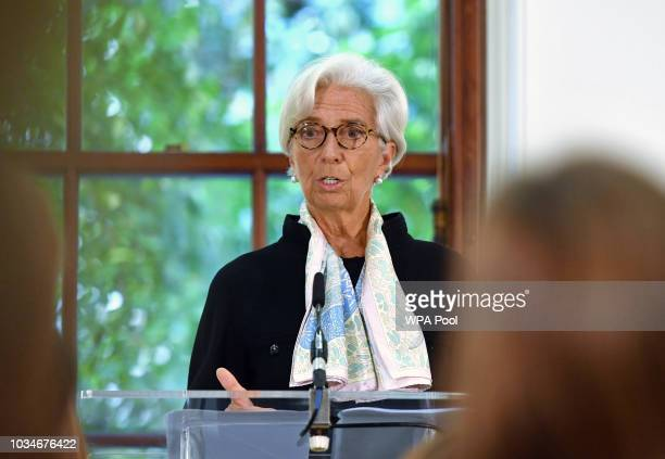 International Monetary Fund managing director Christine Lagarde speaks at a press conference to mark the publication of the 2018 Article IV...
