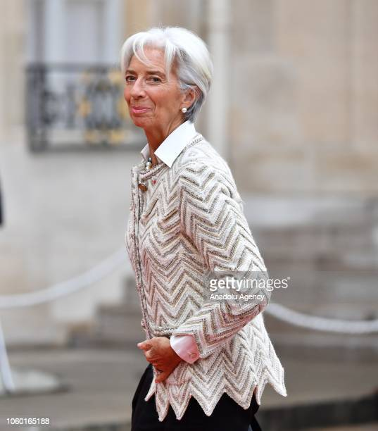 International Monetary Fund Managing Director Christine Lagarde arrives at the Elysee Palace ahead of the ceremony for the Centenary of the World War...