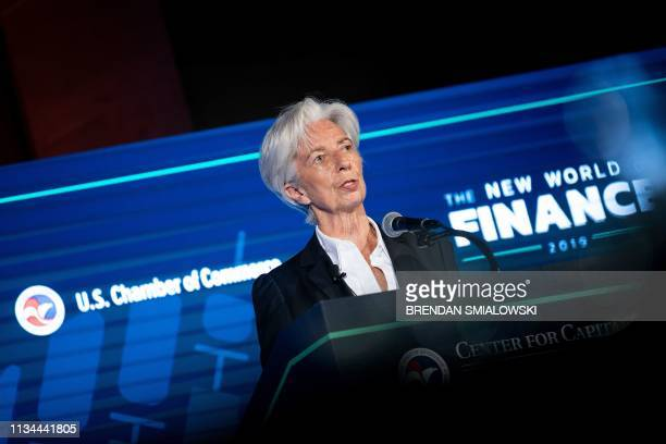 International Monetary Fund Managing Director Christine Lagarde speaks at the US Chamber of Commerce April 2 in Washington DC Global growth in 2019...