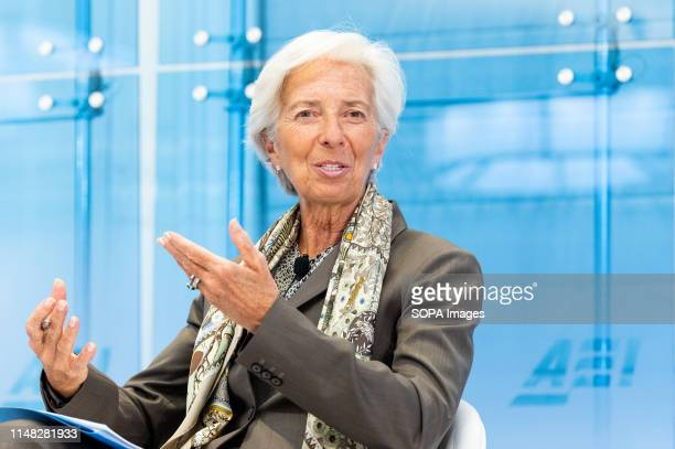 International Monetary Fund Managing Director Christine Lagarde speaks at the American Enterprise Institute in Washington DC