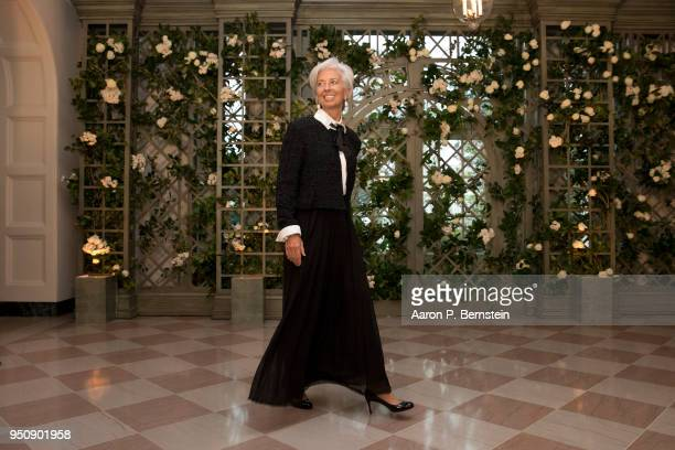 International Monetary Fund Managing Director Christine Lagarde arrives at the White House for a state dinner April 24 2018 in Washington DC...