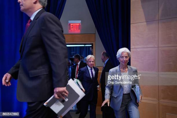 International Monetary Fund Managing Director Christine Lagarde arrives for the opening news conference of the World Bank Group and the IMF's annual...