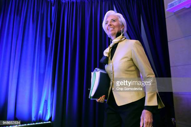 International Monetary Fund Managing Director Christine Lagarde arrives for a news conference at IMF Headquarters April 19 2018 in Washington DC The...