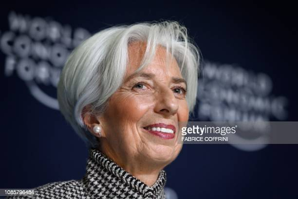 International Monetary Fund Managing Director Christine Lagarde gives a press conference on IMF World Economic Outlook ahead of the World Economic...
