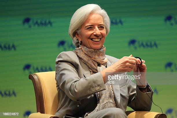 International Monetary Fund managing director Christine Lagarde gives a speech during the Boao Forum for Asia on April 7 2013 in Qionghai Hainan...