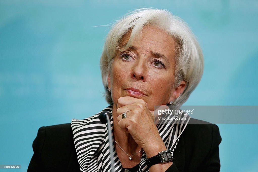 IMF Head Christine Lagarde Holds News Conf. On Economic Policy Priorities : News Photo