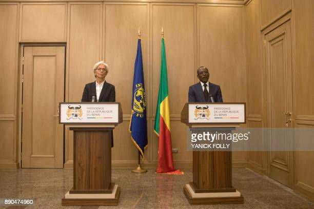 International Monetary Fund Managing Director Christine Lagarde holds a joint press conference with Benin President Patrice Talon in Cotonou on...