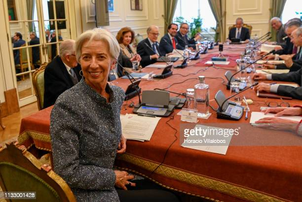 International Monetary Fund Managing Director Christine Lagarde participates in a meeting held at Belem Presidential Palace by the Council of State,...