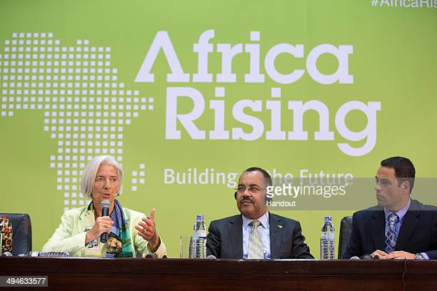 International Monetary Fund Managing Director Christine Lagarde Mozambique Finance Minister Manuel Chang and IMF Resident Representative Alex...