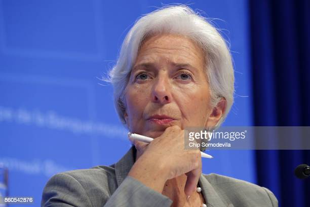 International Monetary Fund Managing Director Christine Lagarde answers reporters' questions during the opening news conference of the World Bank...