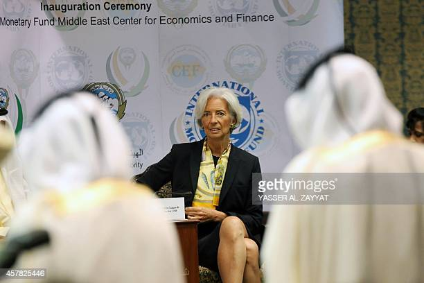 International Monetary Fund Managing Director Christine Lagarde takes part in a ceremony to inaugurate the Middle East Center for Economics and...