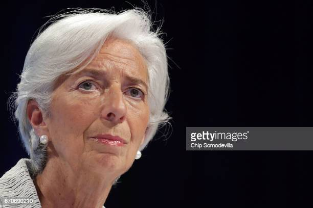 International Monetary Fund Managing Director Christine Lagarde talks with reporters during a news conference at the World Bank and IMF Spring...