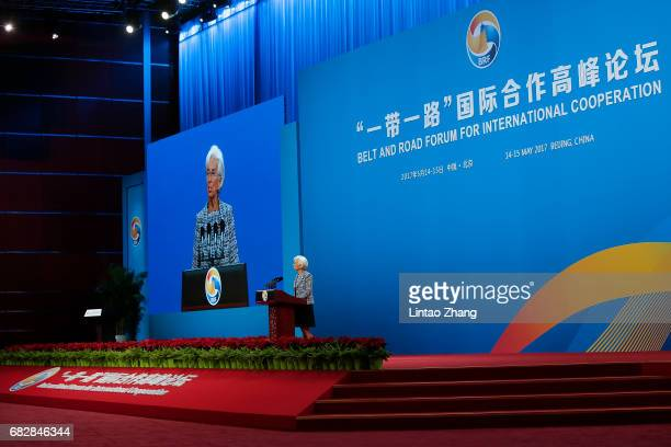 International Monetary Fund Managing Director Christine Lagarde speaks during the Belt and Road Forum for International Cooperation on May 14 2017 in...