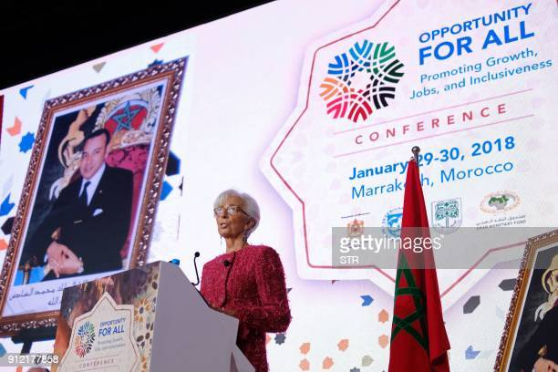 International Monetary Fund Managing Director Christine Lagarde speaks during the IMF economic conference in Marrakesh on January 30 2018