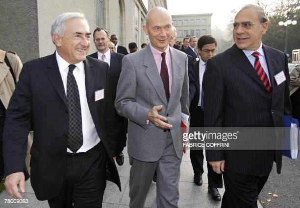International Monetary Fund managing director France's Dominique Strauss-Kahn, World Trade Organisation director general France's Pascal Lamy and...