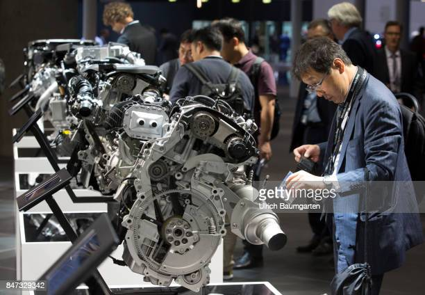 International Motor Show 2017 in Frankfurt Exhibition visitors at BMW petrol engines