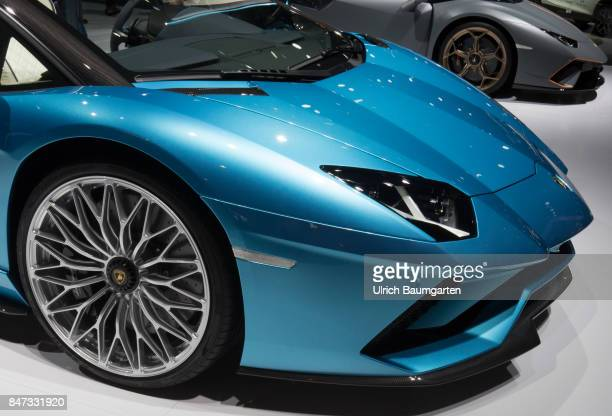 International Motor Show 2017 in Frankfurt Front of an Lamborghini Aventador S Roadster with about 740 hp