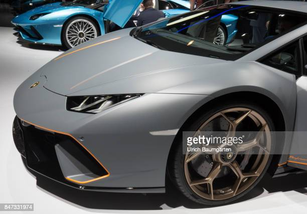 International Motor Show 2017 in Frankfurt Front wheel of an Lamborghini Huracan Performante with about 670 hp
