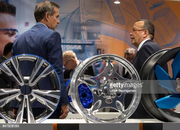 International Motor Show 2017 in Frankfurt Symbol photo business meeting sales talk Manager etc of an rim manufacturer