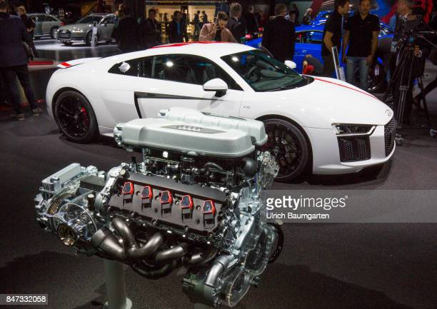 International Motor Show 2017 in Frankfurt Symbol photo environment petrol engine etc The photo shows an AUDI R8 COUPE V10 plus and the 610 hp petrol...